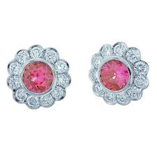 Floral pink diamond earrings
