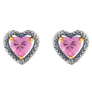 Hearty pink diamond earrings