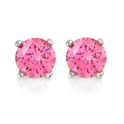 Hot pink diamond earrings