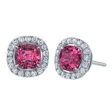Intense pink diamond earrings