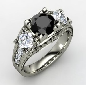 Rare and antique black diamond engagement rings