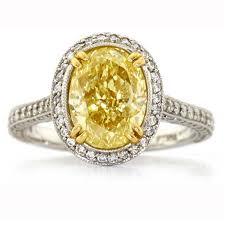 Roundish yellow canary diamond ring