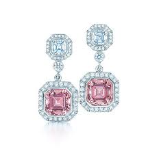 Shiny pink diamond earrings