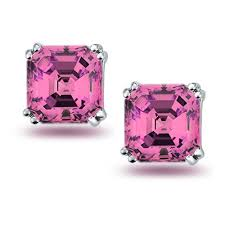 Squared pink diamond earrings