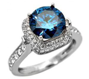 dark blue diamond engagement ring