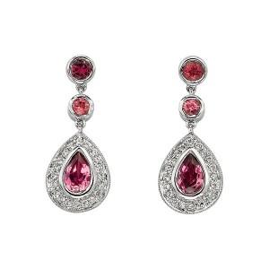 dark pink diamond earrings