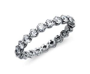 floating diamond eternity rings white gold