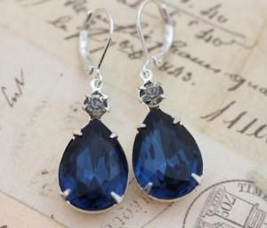 lovely navy blue diamond earrings