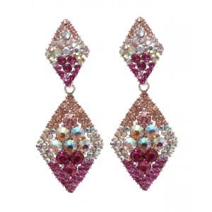 pink and opal diamond shaped earrings