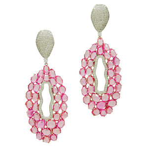 sparkly pink diamond earrings