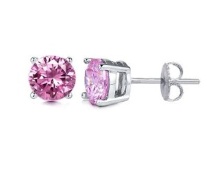 trendy and stylish pink diamond stud earrings
