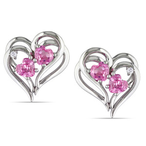 heart shaped pink diamond earrings