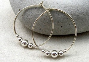 large hoop earrings for women with beads