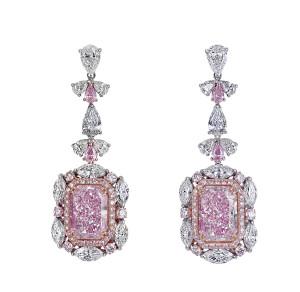 most elegant pink diamond earrings