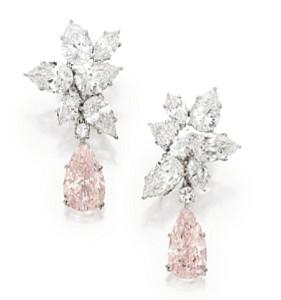 rare pink diamond earrings