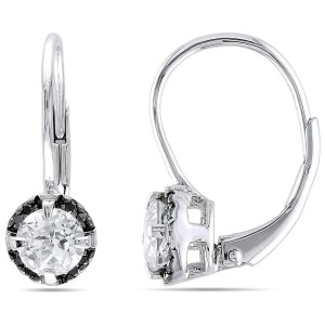 rhodium leverback diamond earrings