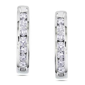 stylish white gold diamond hoop earrings