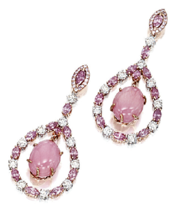 teardrop pink diamond earrings
