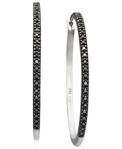 trendy black diamond hoop earrings